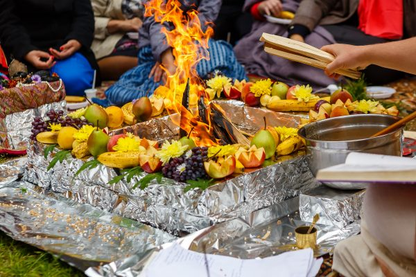 Vedic fire altar during a ceremony with Vedic chanting by pundits