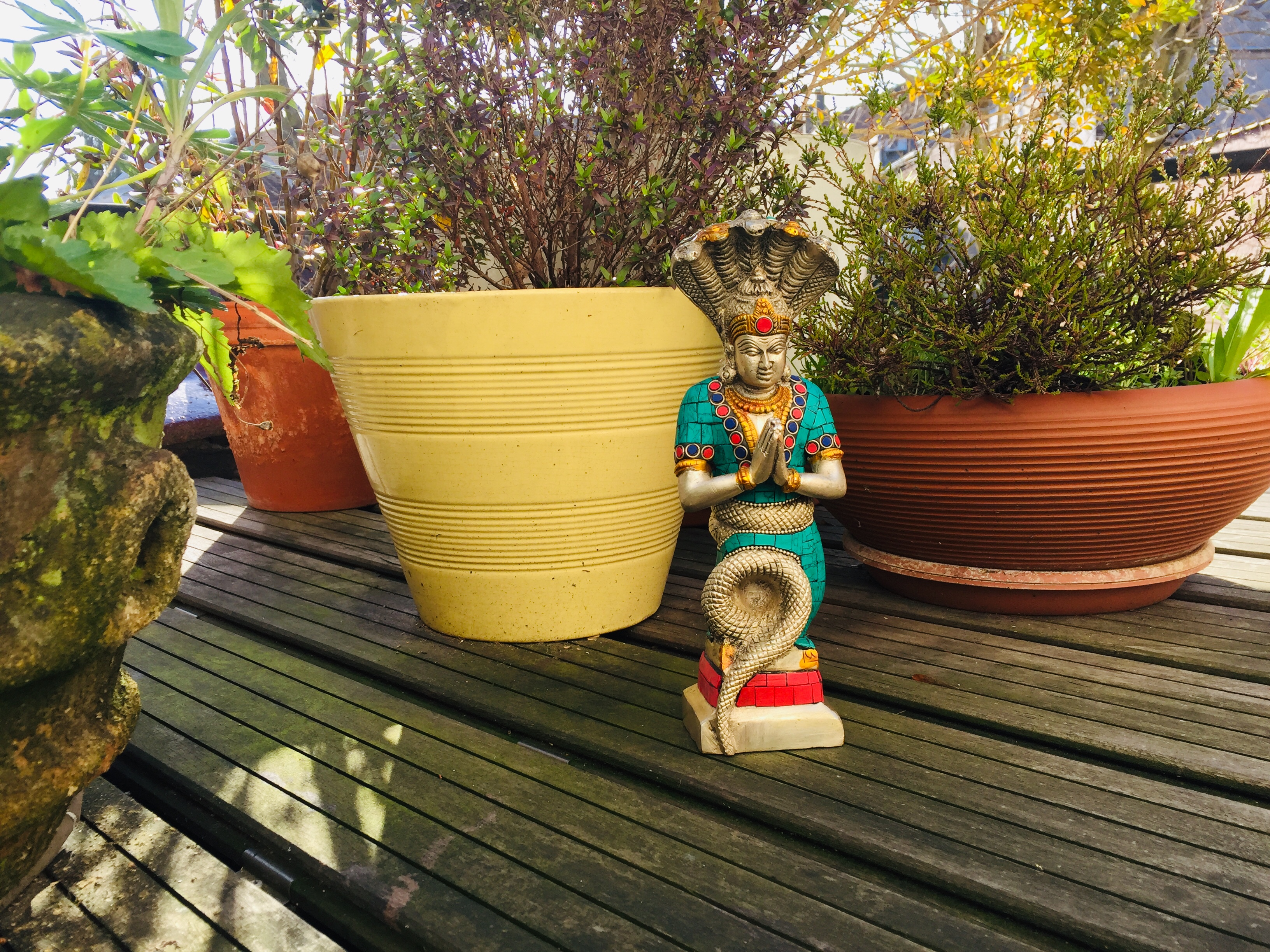Patanjali Statue on the terrace of a yoga studio with plants in pots in the back