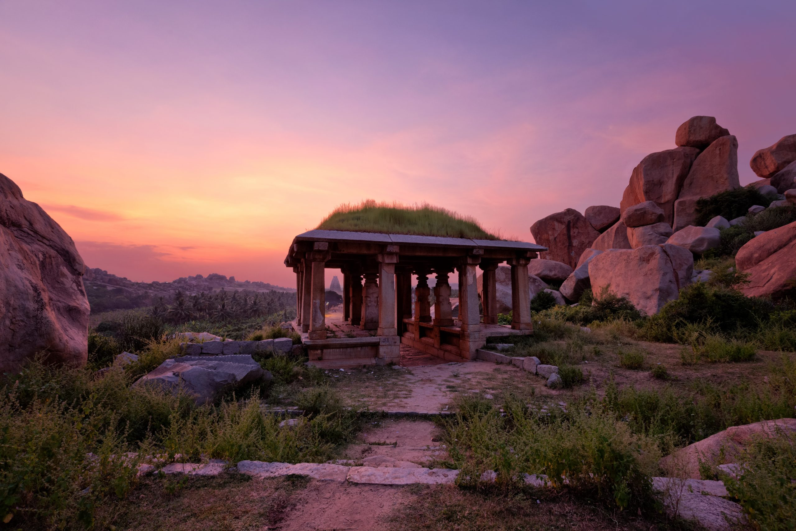 Ancient ruins of Hampi karnataka during sunset