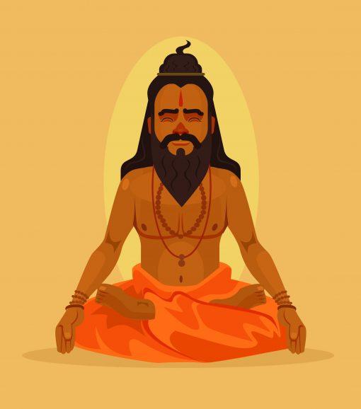 Vedic rishi or yogi in deep meditation
