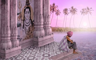 Shiva, Rudra, Indian temple, man sitting at temple steps